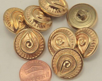 """Lot of 8 Gold Tone Metal Shank Buttons Puffed 3/4"""" 19mm (#6321)"""