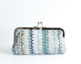 Bohemia Straw Bag, Straw Clutch Purse, Woven Clutch, Summer Purse, Woven Purse, Zig Zag Coin Purse, Day Clutch Bag with Silver Hardware