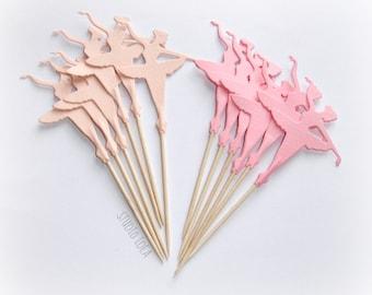 Mixed Pink Tall Ballerina Cupcake Toppers, Food Picks