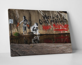 Oil Spills and Molotovs by Banksy Gallery Wrapped Canvas Print. BONUS WALL DECAL!