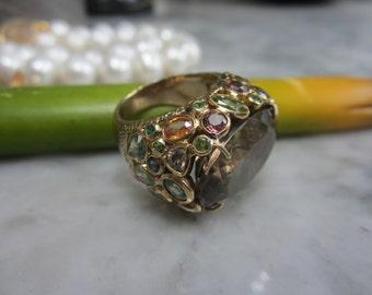 TOM K Ring Smoky quartz H Tribute femme Turmalin Sapphire Goldsmith handmade Design