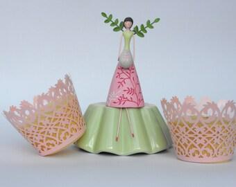 Pretty Pink Lace Fairy Cake/Cupcake Wraps. FREE P&P