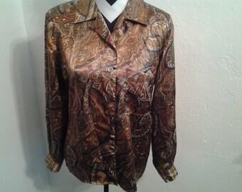 Vintage Brown Paisley Long Sleeve Secretary Blouse- Size 10