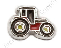 Red Tractor Charm for Floating Lockets, Bulk Wholesale Memory Locket Charm (LCHM-135), READ MEASUREMENTS