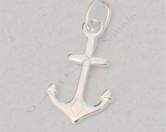 2 pc. Sterling Silver Anchor Charm, 12 x 9mm, Double-Sided Nautical Charm, 925 Sterling Boating Charm, Yacht Rock Charm, USA Seller (S136)