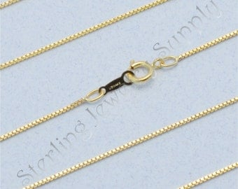 16 Inch 14 Kt Gold-filled 0.8mm Box Chain, 14/20 Gold-filled, Finished Gold-filled Box Chain, Wholesale Chain Supply, USA Seller (CGF103-16)
