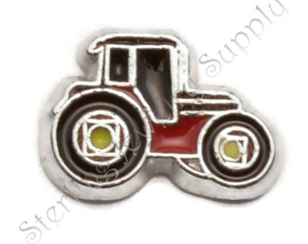 Red Tractor Charm for Floating Lockets, Bulk Wholesale Memory Locket Charm (LCHM-135), USA Seller