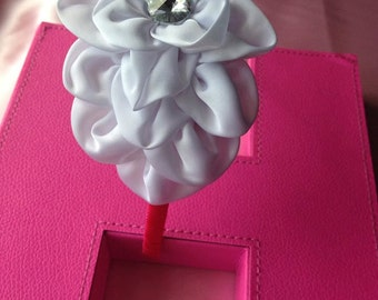 Hot Pink Ribbon Wrapped Plastic Headband with White Satin Flower