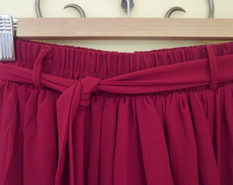 Red chiffon maxi skirt with belt