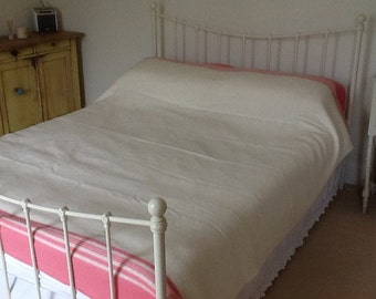 Perfect pink and cream vintage Witney blanket double bed size