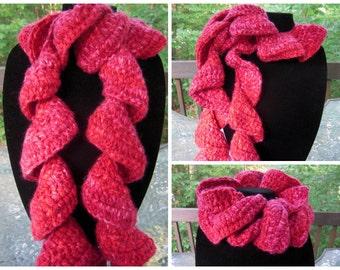 Crochet Ruffle Scarf - Pink