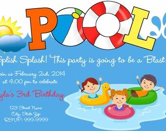 Printable Pool Birthday Invitation Pool Birthday Party Invitation Pool Party Invitation