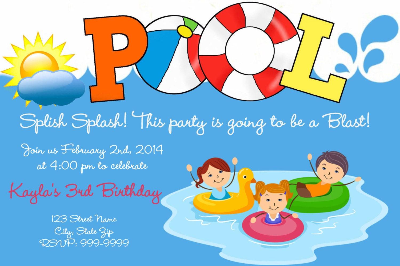 Piscina para imprimir cumplea os invitaci n piscina cumplea os for Ideas para cumpleanos en piscina