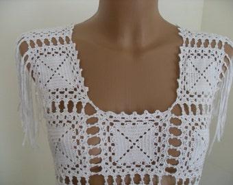 Crochet long  dress, white elegant