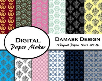 Damask Digital Paper Designs great for scrapbooking, backgrounds, invitations, crafting, gift wrapping and more. Instant download.