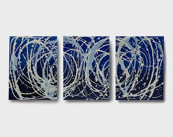 Triptych Acrylic Abstract Blue Painting  54 x24  Canvas Art, Home Decor, Wall Art, Crimson Hill Gallery, Art by Brian Hill, 3 panel