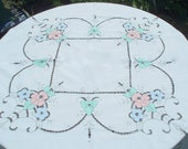 Applique and Cutwork Vintage Tablecloth