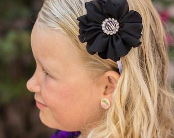 Black and Zebra Chiffon Flower Headband ~ Baby Flower Headband ~ Girl's Flower Headband