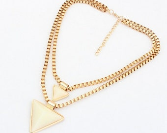 The Harva layered triangle necklace