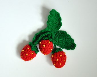 Crochet Strawberry Brooch