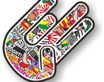 Shocker Hand JDM Style Sticker Bomb decal right handed small 90mm