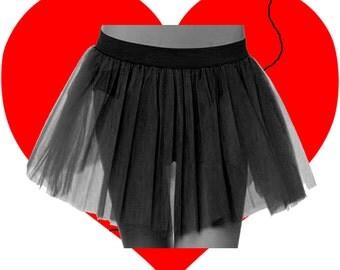 Plus Size Black Tutu Skirt 3 Layers Length 13 to 14 Free Shipping USA