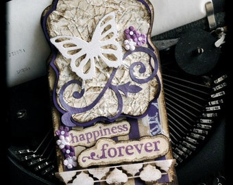"""Large Vintage Inspired Altered Tag, Butterfly """"Happiness Forever"""", 3D Handmade Gift Tag"""