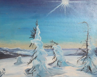1990 oil winter landscape oil painting signed