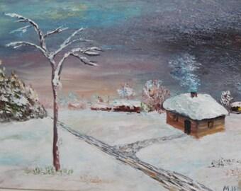 Vintage oil winter hut landscape oil painting