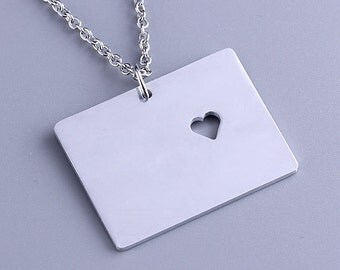I heart Colorado Necklace - Colorado Pendant - State Charm - Map necklace - Map Jewelry