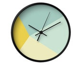 Mint and yellow wall clock Abstract wall clock Housewarming gift Teal clock Teal wall clock Mint wall clock Teal and beige clock Latte Home
