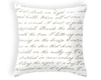 Daffodils poem by W. Wordsworth throw pillow handwriting mute colours white and taupe cushion beige throw pillow typography cushion daffodil