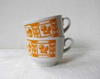 2 Cups Soviet Vintage , Russian Cups with Orange Flowers. Retro Kitchen Decor. Made in USSR. Collectible