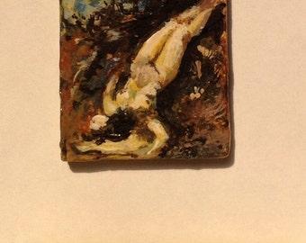 Miniature painting, reclining female.
