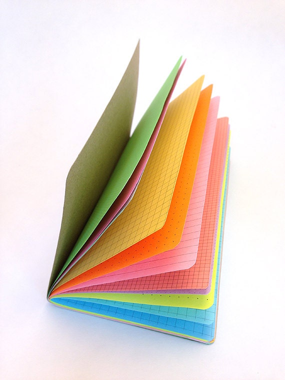 notebook with colored pages multi color rainbow traveler 39 s notebook insert choice