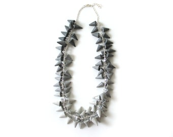 Concrete Ombre Fringe Necklace