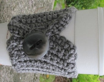Gray Grey Crochet Cup Cozy with Button Ready to Ship