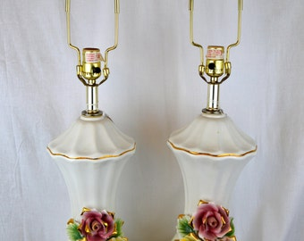 Pair Of Vintage Marked Capodimonte Porcelain Lamps Tall