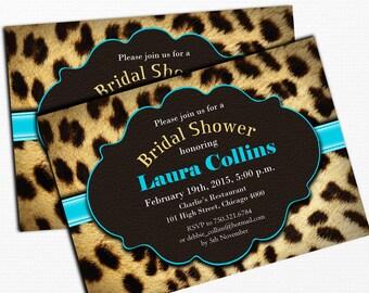 Bridal Shower Invitation / Leopard Print / Blue / Hen Party / Digital Printable Invitation / Customized