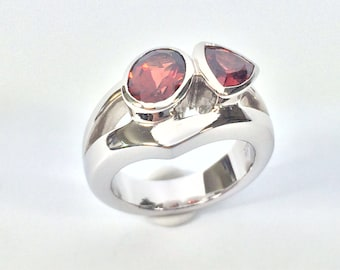 Garnet Ring // 925 Sterling Silver // Matte Rhodium Finish // Multi-Stone Garnet Ring // Red Garnet Ring // Gemstone Garnet Ring // Size 6.5