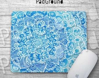 Mandala, Personalized Computer Mouse Pad, Blue Mandala, Minority Totem, Natural Soft Fabric rubber backing Mouse Pad - MA05