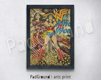 Wonder Woman Poster, Superhero Art Print, DC Comics, Burlap Print, Home Wall Decor, Gifts, Natural Linen Print Art with Frame -SP24