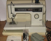 Vintage Kenmore 10 Stitch Heavy Duty Zig Zag Sewing Embroidery Machine Industrial Leather Upholstery 1521 w/ Original owners Manual