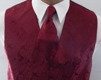 Mens Vest Burgundy  Tone On Tone Satin Paisley Vest Tie And Pocket Square Set