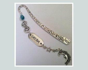 Dream Bookmark , Silver Bookmark , Celestial Bookmark , Crystal Beaded Bookmark , DREAM Charm , Bedtime Bookmark , Handmade Gift , For Her
