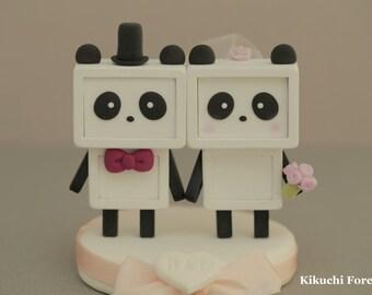 Panda wedding cake topper Handmade,Handcrafted wood panda doll