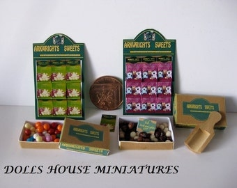 SHOP COUNTER ITEMS dolls house sweets  1/12th scale