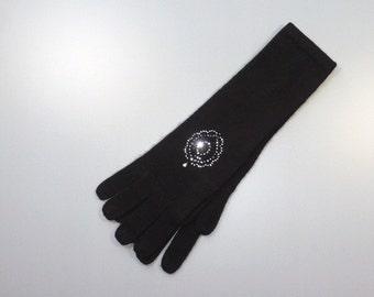 Long gloves cashmere Pompadour pattern RHINESTONE Swarovski