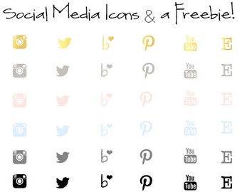 Social Media Icon Set & A Freebie! - 32x32 - INSTANT DOWNLOAD