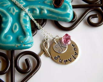 Breast Cancer Survivor Necklace Stamped with Initial, Sterling Ribbon  Charm and Pink Swarovski Crystal